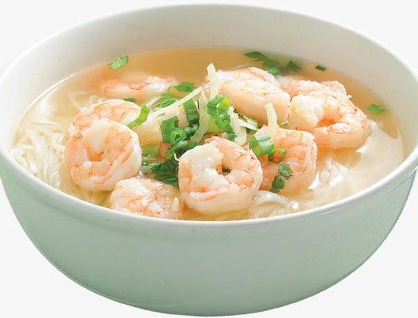 100C. Soupe de nouilles aux crevettes 虾仁汤面